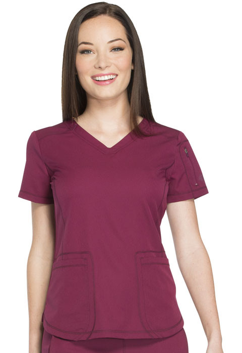 Dickies Dynamix V-Neck Top in Wine