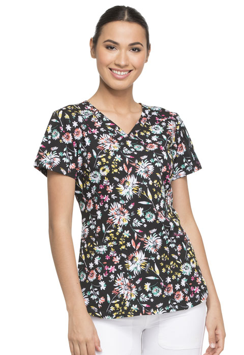 Dickies Dynamix V-Neck Top in Blossom Burst