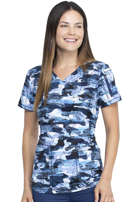 Dickies Dickies Dynamix V-Neck Top in Stone Cold Camo Navy