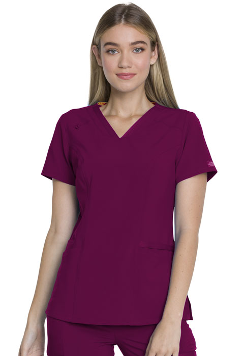 Dickies Every Day EDS Essentials V-Neck Top in Wine