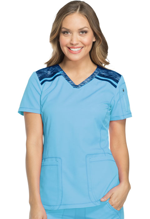 Dickies Dickies Dynamix V-Neck Top in Blue Ice