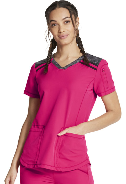Dickies Dickies Dynamix V-Neck Top in Cherry Punch