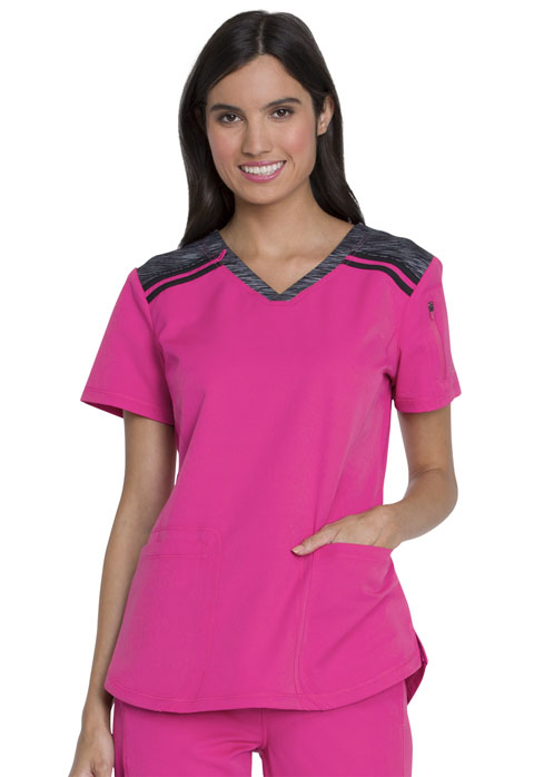 Dickies Dynamix V-Neck Top in Hot Pink