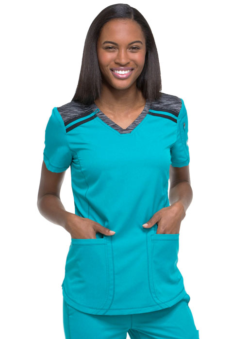 Dickies Dynamix V-Neck Top in Teal Blue