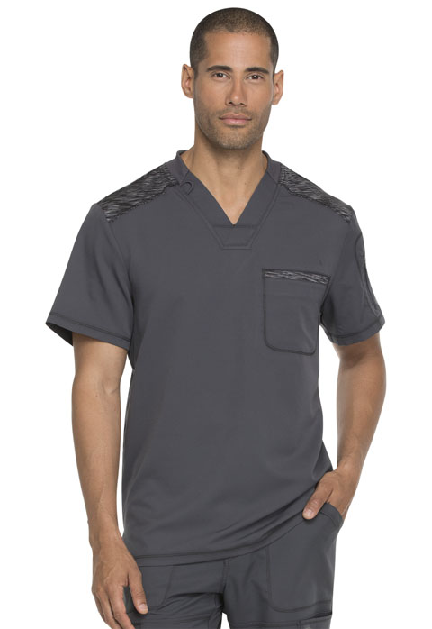 Dickies Dynamix Men's Melange Contrast V-Neck Top in Pewter