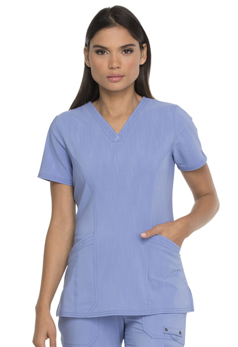 Dickies Advance V-Neck Top With Patch Pockets in Ciel Blue