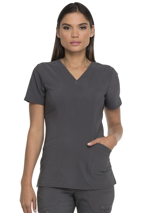 Dickies Advance V-Neck Top With Patch Pockets in Pewter