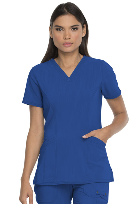 Dickies Advance V-Neck Top With Patch Pockets in Royal