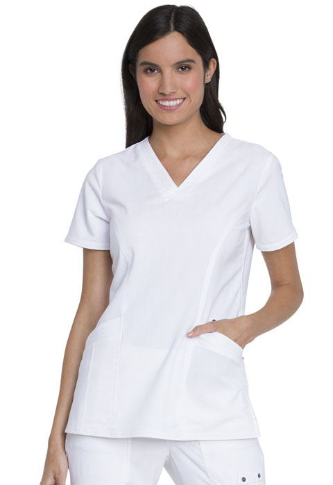 Dickies Advance V-Neck Top With Patch Pockets in White