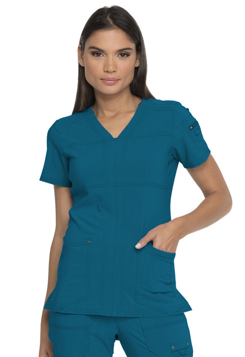 Dickies Advance V-Neck Top in Caribbean Blue