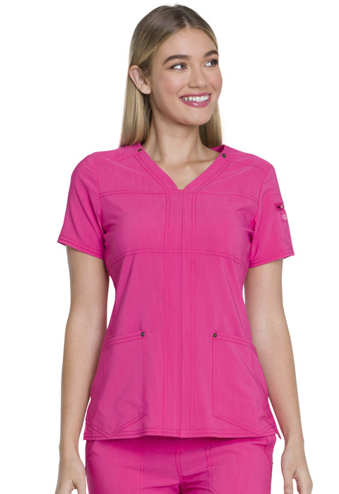 Dickies Advance V-Neck Top in Hot Pink