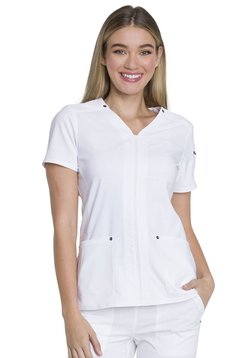 Dickies Advance V-Neck Top in White