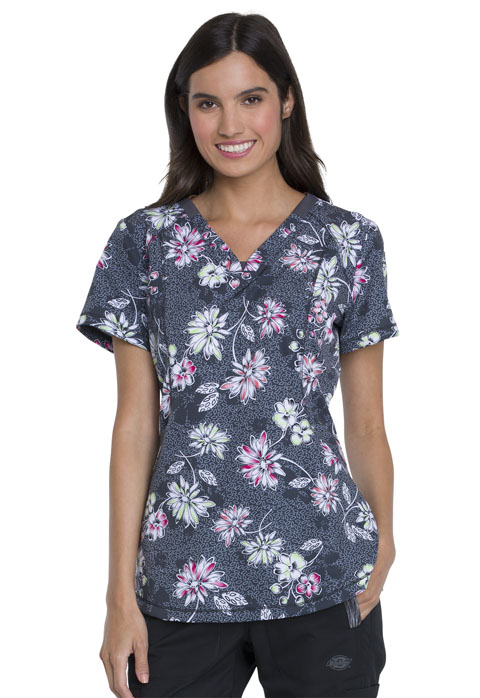 Dickies Dynamix V-Neck Top in Bursting Blooms