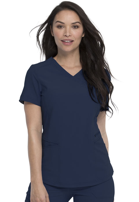 Dickies Retro Mock Wrap Top in Navy