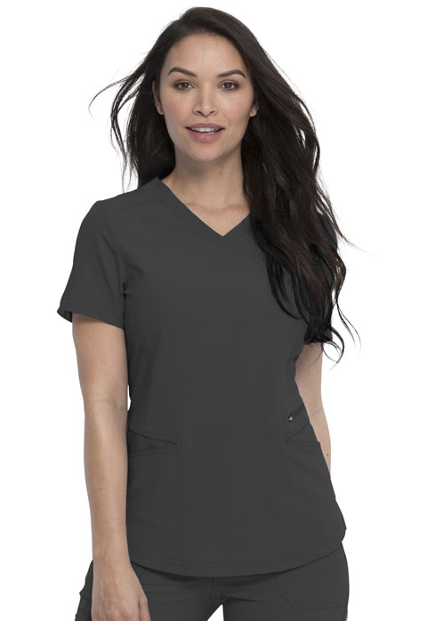 Dickies Retro Mock Wrap Top in Pewter
