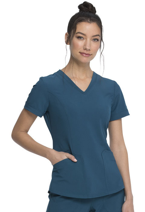 Dickies Retro V-Neck Top in Caribbean Blue