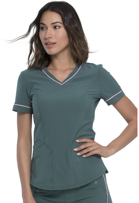 Dickies Retro V-Neck Top in Mallard Green