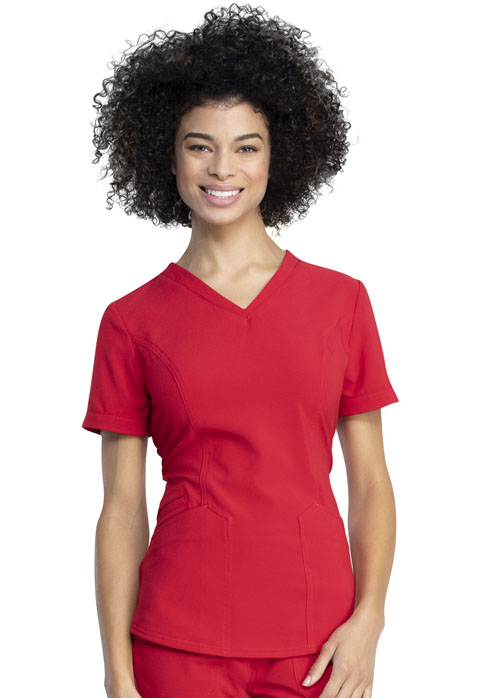 Dickies Retro V-Neck Top in Red