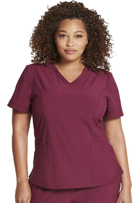 Dickies Retro V-Neck Top in Wine