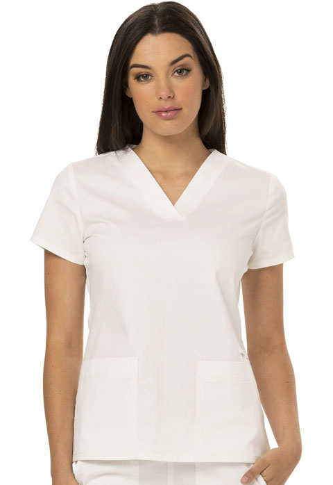 Dickies Gen Flex V-Neck Top in White