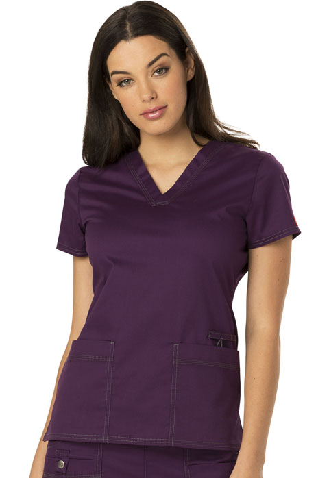 Dickies Gen Flex V-Neck Top in Eggplant