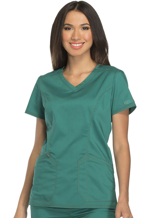 Dickies Essence V-Neck Top in Hunter Green