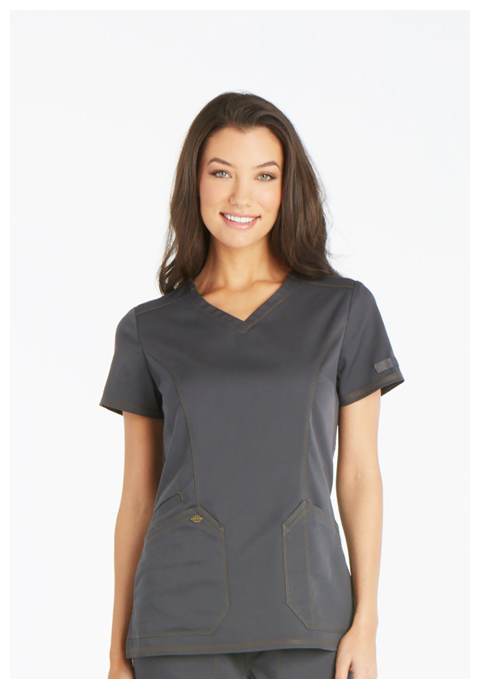 Dickies Essence V-Neck Top in Pewter