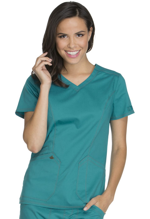 Dickies Essence V-Neck Top in Teal Blue