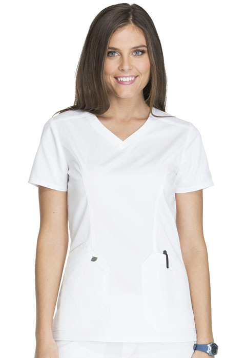 Dickies Essence V-Neck Top in White