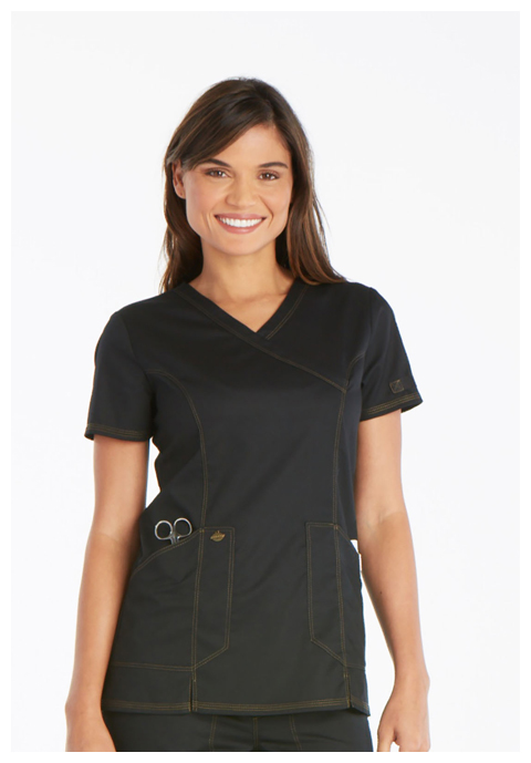 Dickies Essence Mock Wrap Top in Black