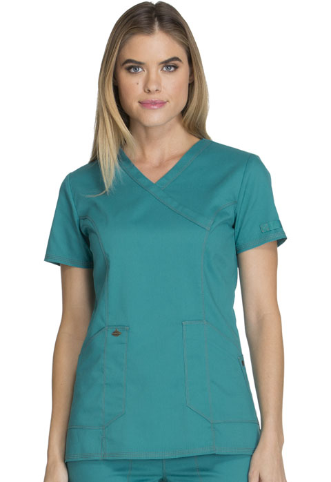 Dickies Essence Mock Wrap Top in Teal Blue
