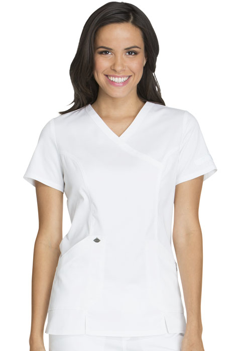 Dickies Essence Mock Wrap Top in White