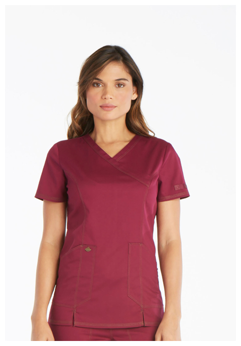Dickies Essence Mock Wrap Top in Wine