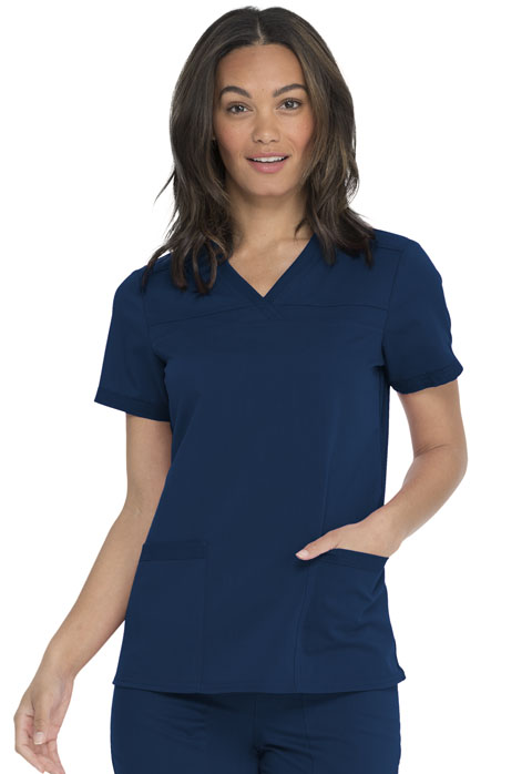 Dickies Dickies Balance V-Neck Top With Rib Knit Panels in Navy