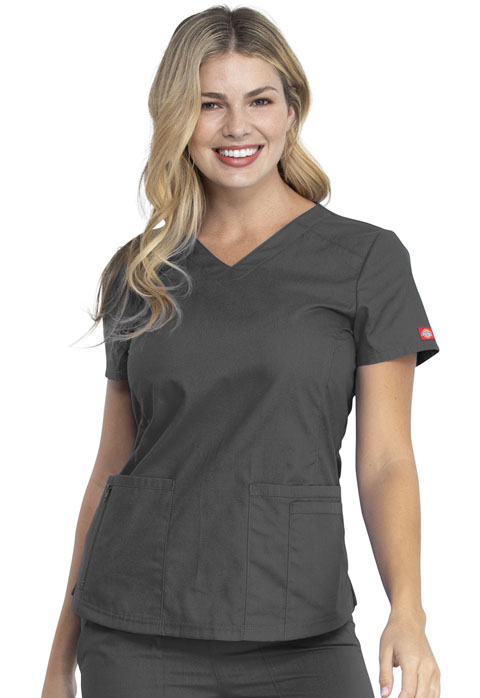Dickies EDS Signature V-Neck Top in Pewter