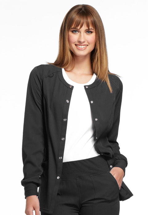 Simply Polished Women Snap Front Warm-up Jacket Black
