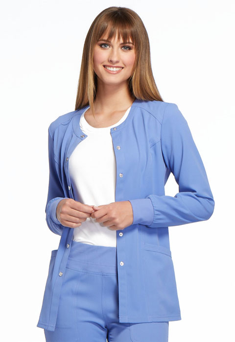 Simply Polished Women Snap Front Warm-up Jacket Blue