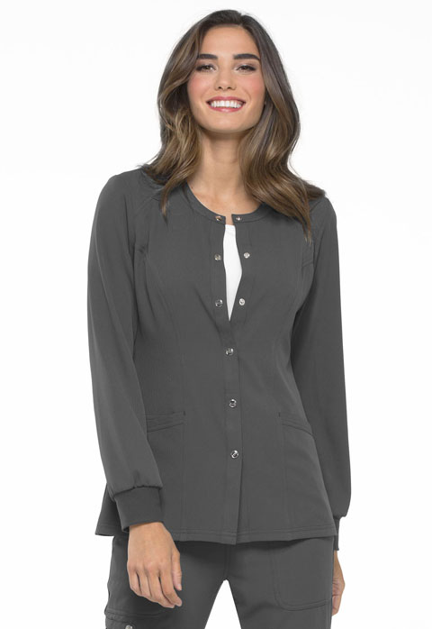 Simply Polished Women Snap Front Warm-up Jacket Gray