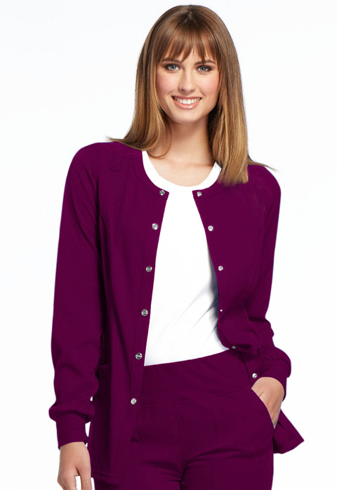 Simply Polished Women Snap Front Warm-up Jacket Red