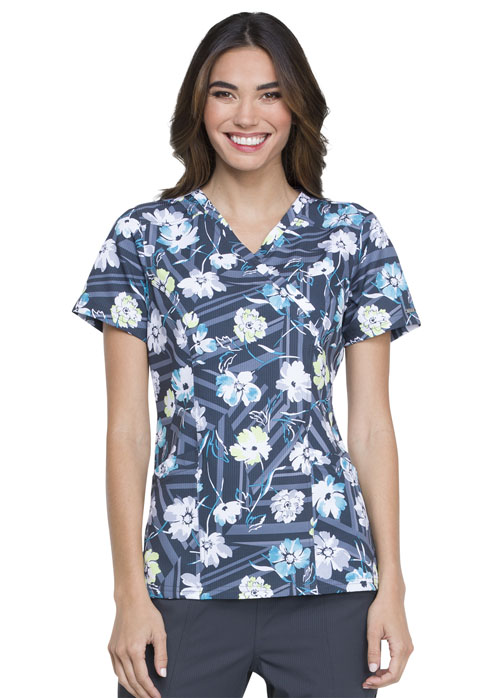 Prints a La Mode Women's Mock Wrap Top Floral Fun Kiwi Sorbet