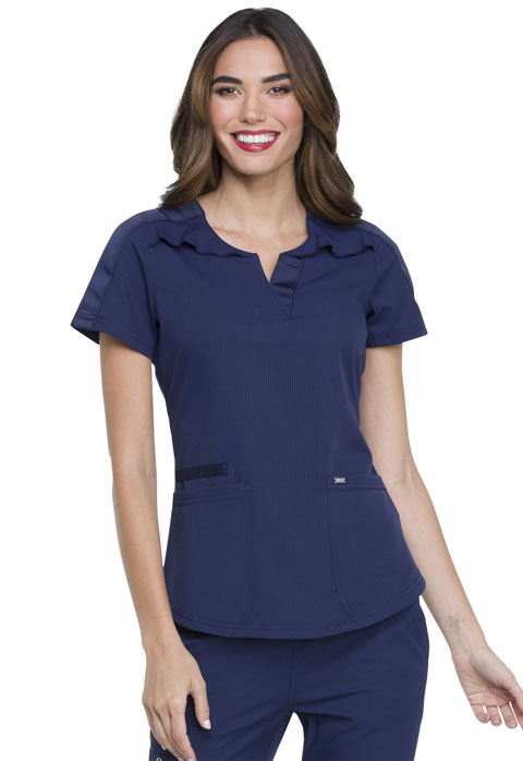 Simply Polished Women Ruffle Yoke Top Blue