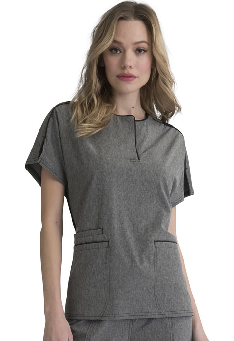 Simply Polished Women Round Neck Top Gray