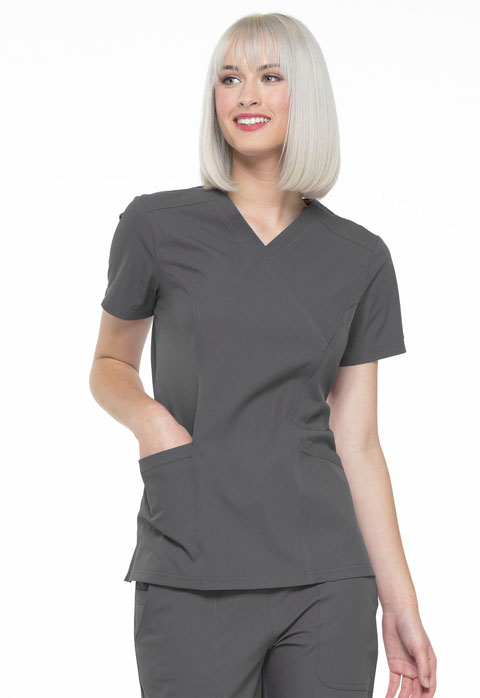 Simply Polished Women Mock Wrap Top Gray