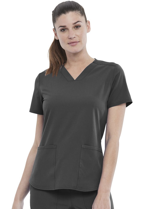 Simply Polished Women 2-Pocket V-Neck Top Gray