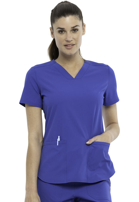 Simply Polished Women 2-Pocket V-Neck Top Blue