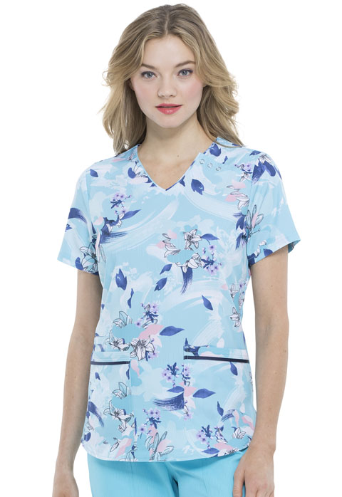 Prints a La Mode Women V-Neck Top Wash The Blooms Away