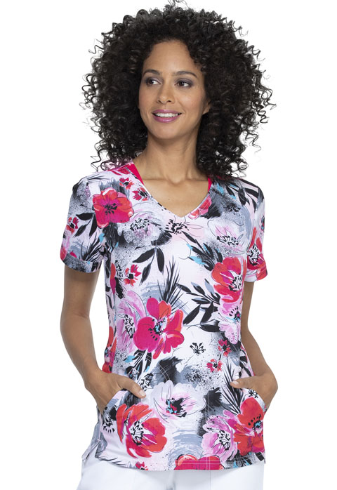 Prints a La Mode Women Shaped V-Neck Top Big Bloom