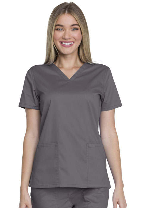 Dickies Genuine Dickies Industrial Strength V-Neck Top in Pewter