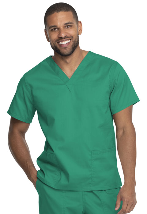 Dickies Genuine Dickies Industrial Strength Unisex V-Neck Top in Surgical Green