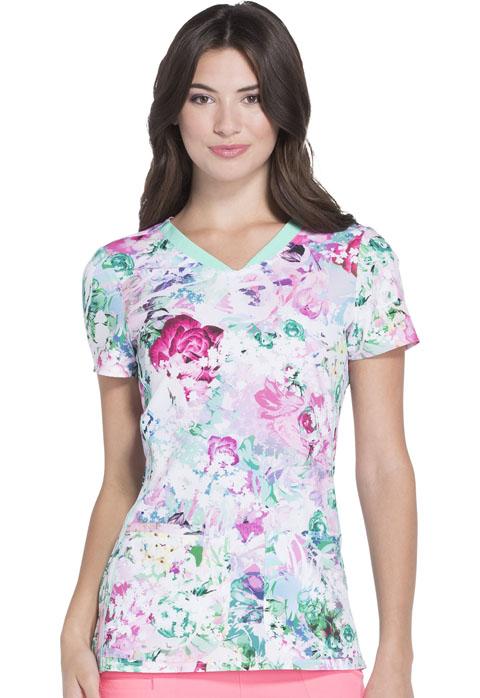 HeartSoul HeartSoul Prints Women's V-Neck Top Together Floral Ever